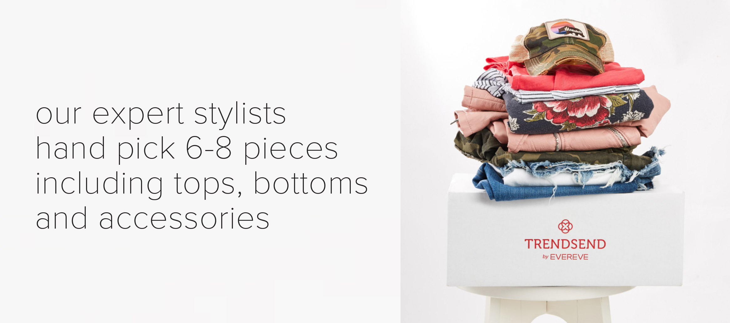 Trendsend box with outfits stacked on top